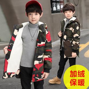 中大童2018男童棉衣外套加绒儿童棉服10加厚12秋冬装男孩15岁