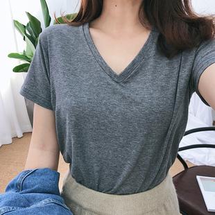 2018百搭纯色宽松打底衫纯棉灰色白色女短袖v领上衣t恤夏体恤