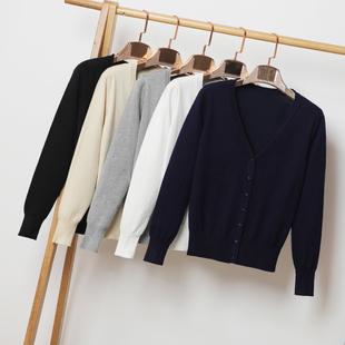 宽松2018春秋季短款针织衫女装开衫长袖外搭薄款毛衣外套