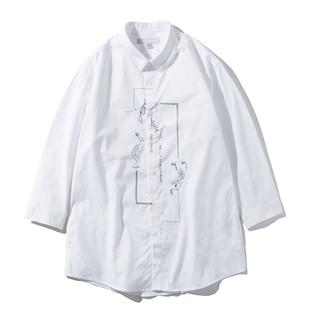 夏装七分袖衬衫男日系骷髅文艺宽松简约港风7分复古白色衬衣
