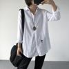秋装文艺宽松大码显瘦中长款翻领棉麻长袖衬衫女白色衬衣开衫