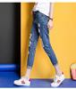 九分牛仔乞丐裤女显瘦低腰小脚铅笔裤女蕾丝钉珠浅色破洞牛仔裤女