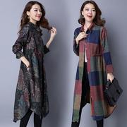 秋冬女装复古民族风长款保暖加厚呢子大衣宽松格子风衣外套女时尚