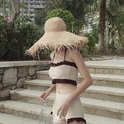 2020韩国夏季花边拼色挂脖抹胸分体泳装高腰针织比基尼两件套