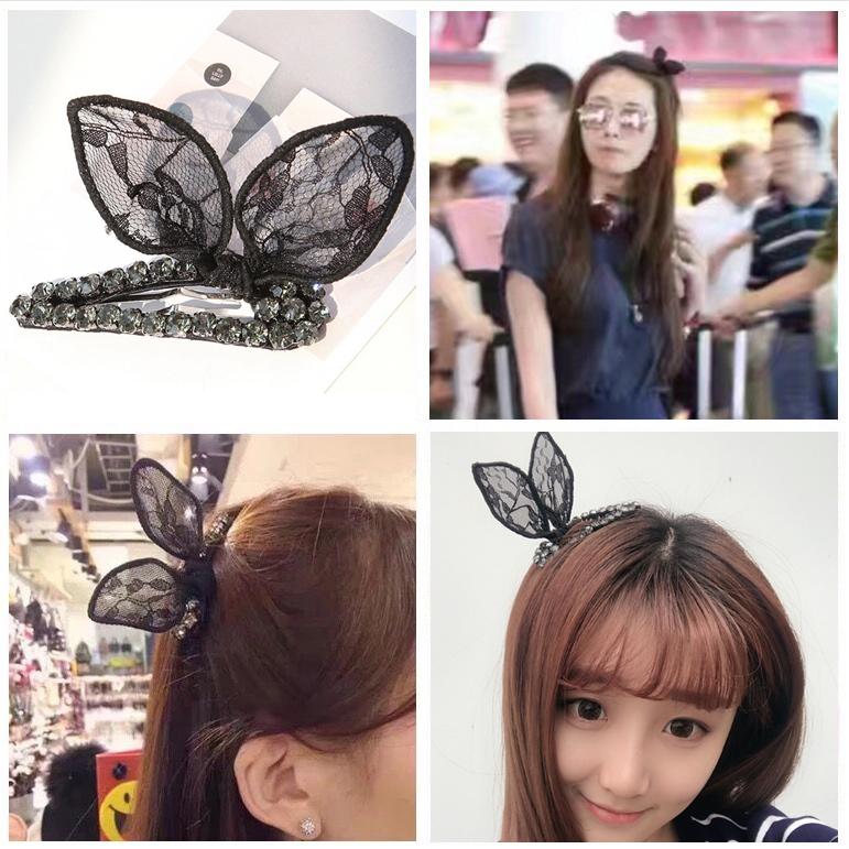 这个戴起来很可爱,胶粘的感觉不是很牢,儿童的都好大__林志玲韩国兔耳朵发夹蕾丝蝴蝶结夹子学生夹头顶夹发饰鸭嘴夹