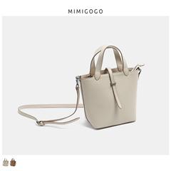 MIMIGOGO头层纳帕牛皮 复古菜篮子 半定型手提斜挎桶包 B055