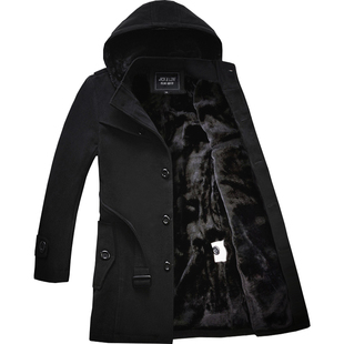 风衣男冬季中长款保暖加绒加厚2018毛呢外套男士呢子大衣