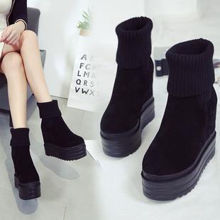 2018秋冬14CM坡跟女靴内增高磨砂短靴马丁靴毛线口短靴潮