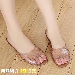 夏季浴室拖鞋女水晶果冻凉鞋家居室内拖女塑料橡胶防滑妈妈鞋