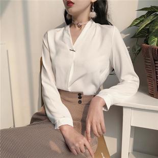春装女装气质纯色V领长袖衬衣雪纺衫简约百搭雪纺衬衫女