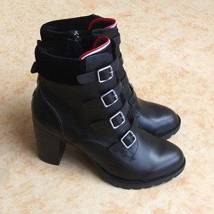 欧美头层牛皮女鞋超高跟皮带扣短筒靴外贸鞋马丁靴粗跟有大码