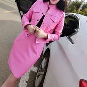 秋季气质长袖单排扣皮衣短外套+包臀半身裙俏皮两件套装女