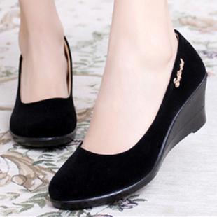 春秋老北京布鞋女鞋单鞋坡跟平底酒店工装高跟黑色工作鞋跳舞鞋女