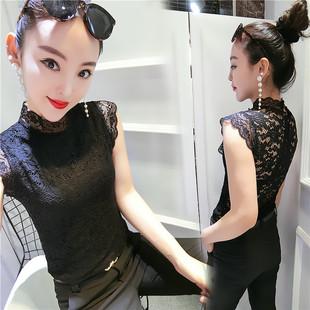 欧美夏装高立领蕾丝雪纺衫短袖大码女t恤无袖网纱洋气上衣潮