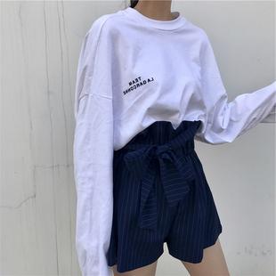 欧货大版白色长袖t恤女春秋原宿港风女装宽松上衣洋气打底衫