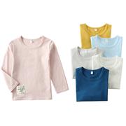 2018秋童装长袖T恤中小儿童男女棉圆领打底衫纯色净版T恤上衣
