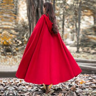 筱辰 2018冬装加厚披风外套巫师帽大摆超长款斗篷毛呢复古大衣女