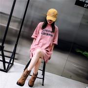 短袖2018韩系字母上衣宽松开叉中长款大码ins半袖t恤女夏装