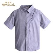 男童衬衫 儿童纯棉短袖衬衣 中大童上衣 透气短袖童装
