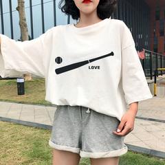 欧韩BF风宽松字母短袖T恤短裤两件套运动服套装女夏潮