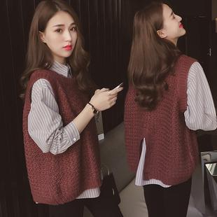 2018秋冬宽松条纹长袖衬衫毛衣套装女百搭衬衣马甲两件套