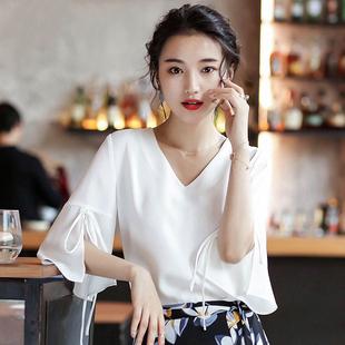 雪纺衫女短袖夏装2019显瘦时尚很仙的上衣洋气小衫喇叭袖衬衫