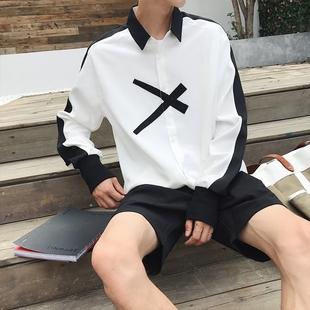 2018男士秋季潮流白衬衫学生百搭长袖情侣装上衣