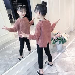 女童装毛衣套头2018秋冬季洋气打底针织衫中大童儿童加厚
