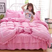 公主风加厚夹棉床裙4四件套纯棉全棉纯色床套被套简约床罩式
