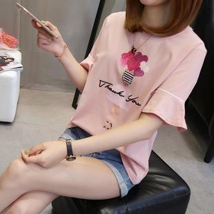 加肥加大码t恤短袖上衣女夏2019宽松显瘦200斤胖mm体恤潮