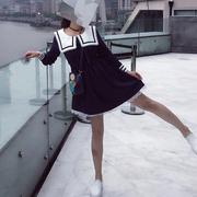 秋季大码时尚个性海军风长袖连衣裙百搭条纹显瘦高腰a字裙女