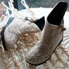 花木尘 清水溪汉服配饰绣花鞋 夹棉厚底短靴短筒靴女鞋平底鞋秋冬