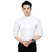 秋冬立领七分袖衬衫男士中山装圆领中袖免烫白色衬衣