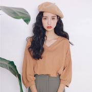 泡泡袖v领T恤女学生2019秋装宽松甜美女装小清新文艺上衣