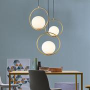 北欧创意餐厅吊灯个性卧室床头灯现代简约单头吧台圆形玻璃球吊灯