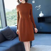 针织连衣裙女秋2018秋冬季女装套头长袖打底衫加厚毛衣裙