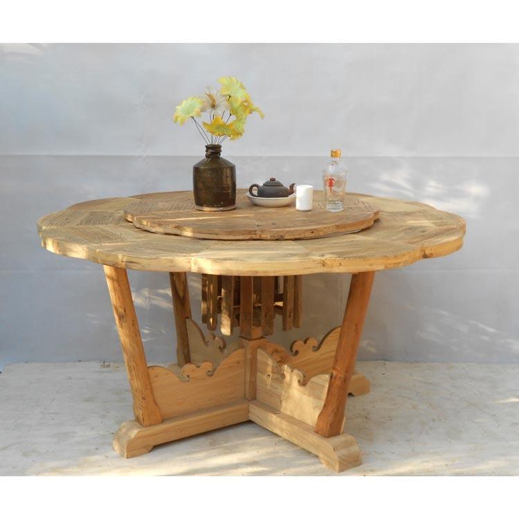 出口美国实木家具/生态榆木家具面板/老色漆圆家具乡村原木图片