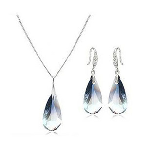 Double silver Austria Crystal girlfriend gift sets women drop pendant